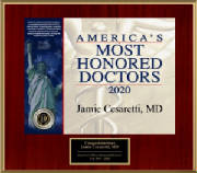 Dr. Jamie Cesaretti is awarded America's Most Honored Doctors 2020 - Top 10%